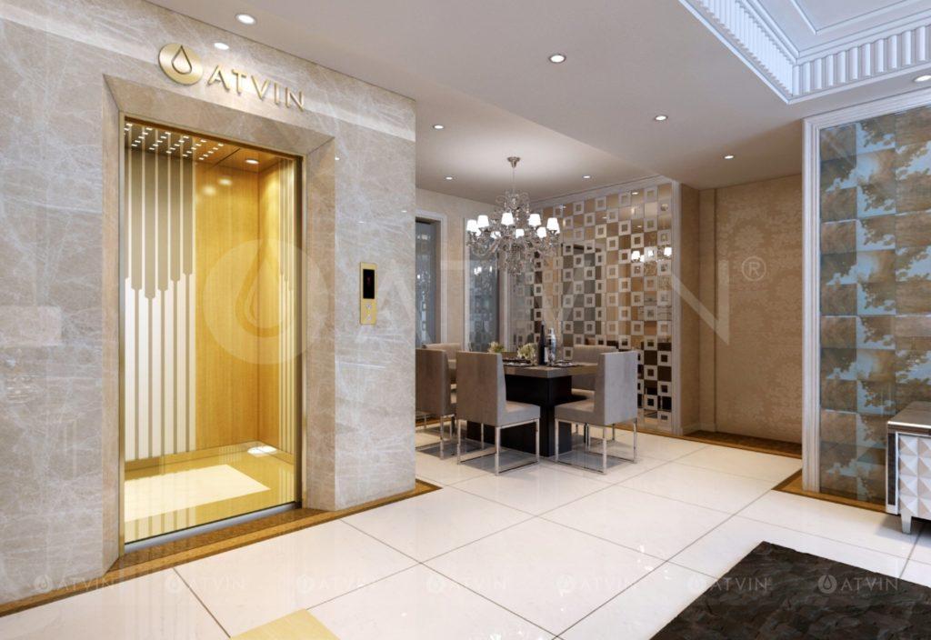 Thang bộ ôm thang máy là giải pháp tiết kiệm diện tích nhất, tận dụng được hầu hết không gian thừa