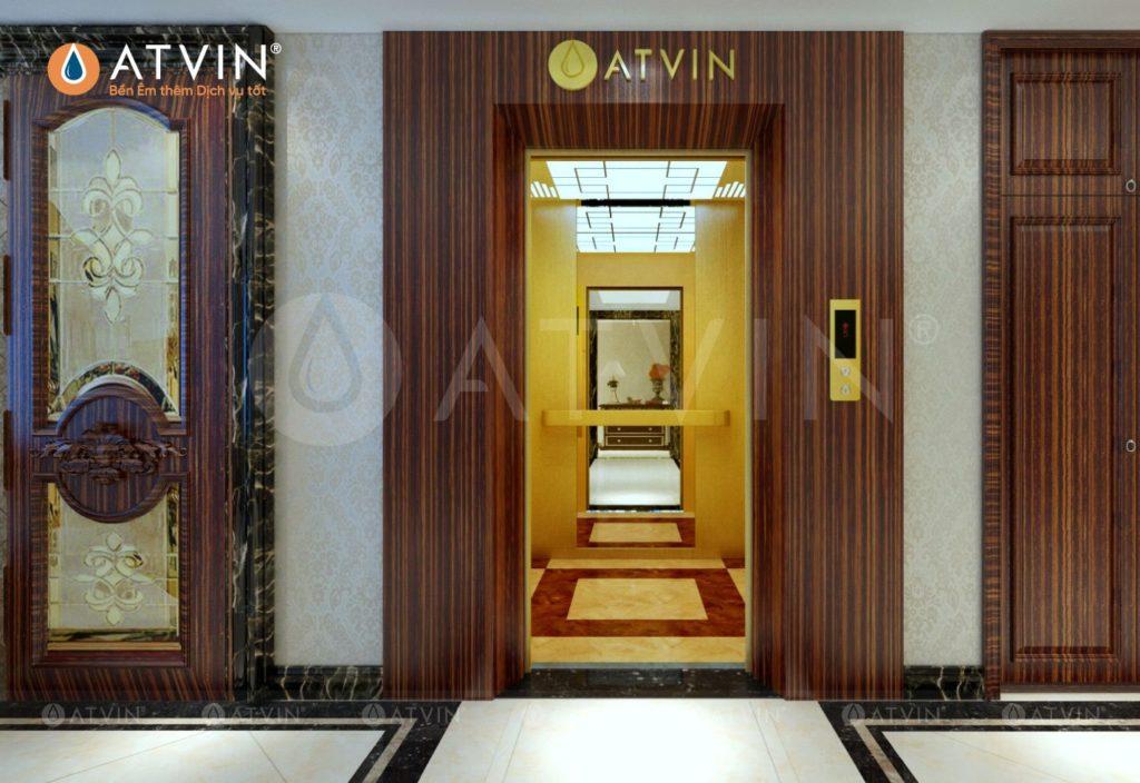 Giải pháp thiết kế thang máy đối diện thang bộ là giải pháp thường thấy ở các chung cư cao tầng với số lượng thang máy lớn, diện tích thiết kế lớn