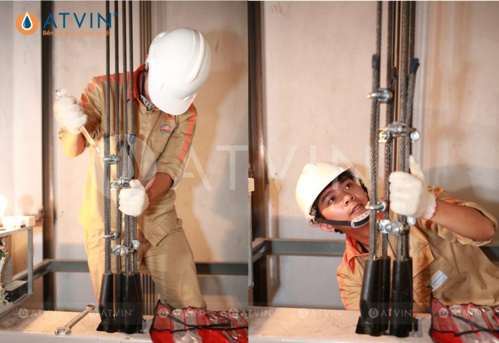 Hệ thống cáp kéo của cabin thang máy