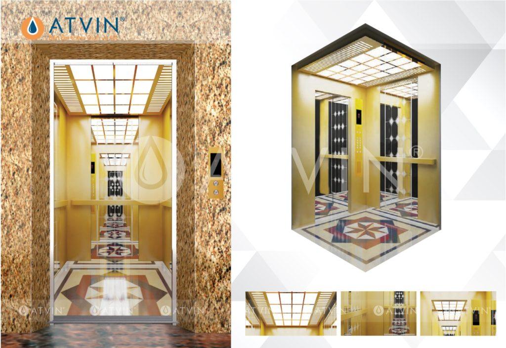 Cabin thang máy rộng rãi, đẹp và thu hút mọi ánh nhìn khi được thiết kế theo kích thước hố thang máy tiêu chuẩn